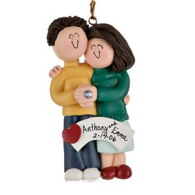 Personalized Engaged Couple Hugging Each Other Christmas Ornament