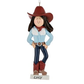 Personalized Cowgirl with Hat Christmas Ornament