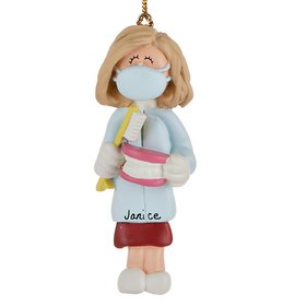 Personalized Dentist/Hygienist Female Christmas Ornament