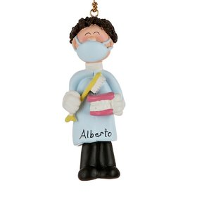 Personalized Dentist/Hygienist Male Christmas Ornament