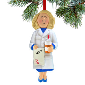 Personalized Prescription Pad Pharmacist Female Christmas Ornament