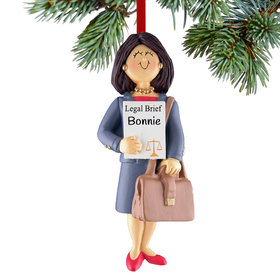 Personalized Lawyer Female Christmas Ornament