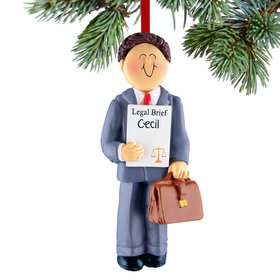 Personalized Lawyer Male Christmas Ornament