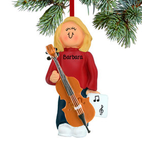 Personalized Cello Player Female Christmas Ornament