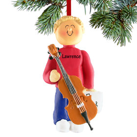 Personalized Cello Player Male Christmas Ornament
