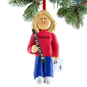 Personalized Clarinet Player Female Christmas Ornament