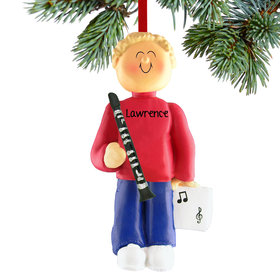 Personalized Clarinet Player Male Christmas Ornament