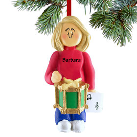 Personalized Drum Player Female Christmas Ornament