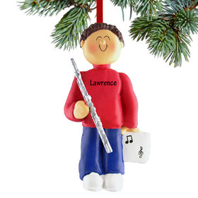 Personalized Flute Player Male Christmas Ornament