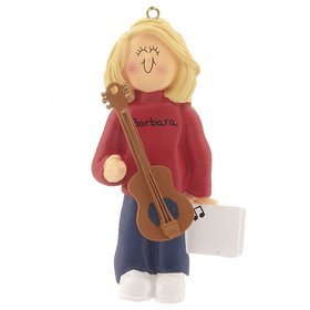 Personalized Guitar Player Female Christmas Ornament