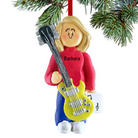 Personalized Electric Guitar Player Female Christmas Ornament
