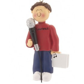 Personalized Singer with Microphone Male Christmas Ornament