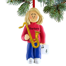 Personalized Saxophone Player Female Christmas Ornament