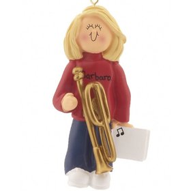 Personalized Trombone Player Female Christmas Ornament