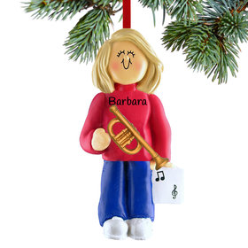Personalized Trumpet Player Female Christmas Ornament
