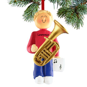 Personalized Tuba Player Male Christmas Ornament