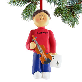 Personalized Violin Player Male Christmas Ornament
