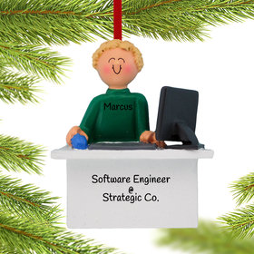 Personalized Computer Male Christmas Ornament