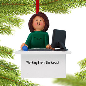 Personalized Work From Home Computer Female Christmas Ornament