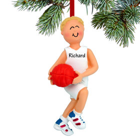 Personalized Basketball Player Holding Basketball Boy Christmas Ornament
