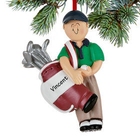Personalized Golfer Male Christmas Ornament