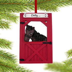 Personalized Horse in Barn Christmas Ornament