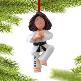 Personalized Karate Female Christmas Ornament