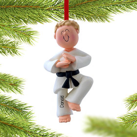 Personalized Karate Male Christmas Ornament