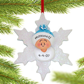 Personalized Baby Boy on Snowflake Christmas Ornament