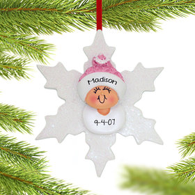 Personalized Baby Girl on Snowflake Christmas Ornament
