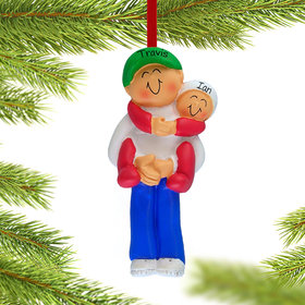 Personalized Big Brother Holding Baby Christmas Ornament