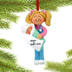 Personalized Big Sister Holding Baby Christmas Ornament