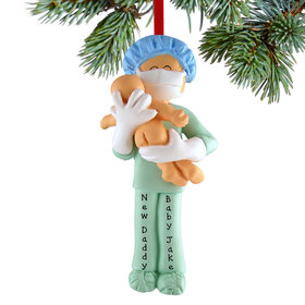 Personalized Obstetrician, New Father or Midwife Christmas Ornament