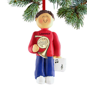 Personalized French Horn Player Male Christmas Ornament