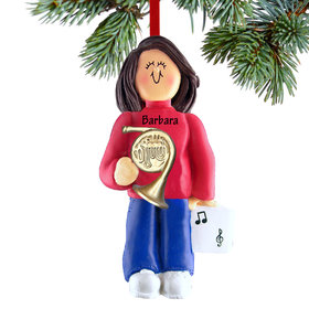 Personalized French Horn Player Female Christmas Ornament
