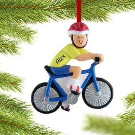 Personalized Bicycle Rider Male Christmas Ornament
