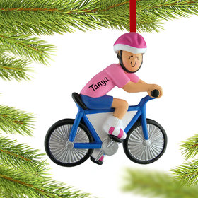 Personalized Bicycle Rider Female Christmas Ornament