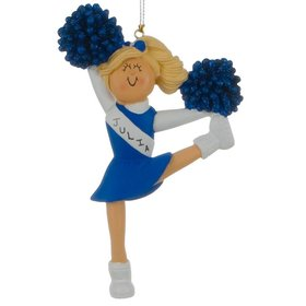 Personalized Cheerleader with Blue Glitter Pom Poms Christmas Ornament
