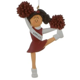 Personalized Cheerleader with Red Glitter Pom Poms Christmas Ornament