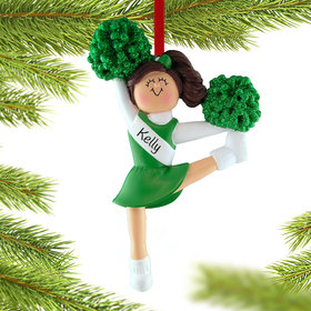 Personalized Cheerleader with Green Glitter Pom Poms Christmas Ornament