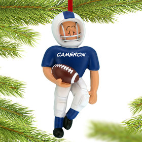 Personalized Football Player (Blue) Christmas Ornament