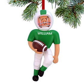 Personalized Football Player (Green) Christmas Ornament