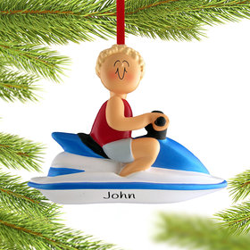Personalized Jet Ski Male Christmas Ornament