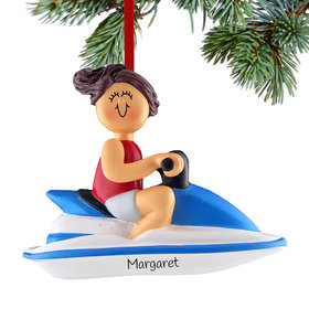 Personalized Jet Ski Female Christmas Ornament