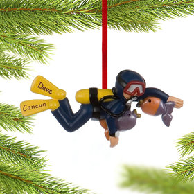 Personalized Scuba Diver Male Christmas Ornament