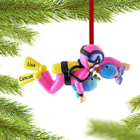 Personalized Scuba Diver Female Christmas Ornament