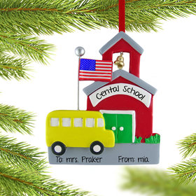 Personalized School with School Bus Christmas Ornament