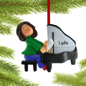 Personalized Piano Player Female Christmas Ornament