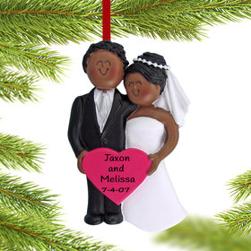 Personalized Wedding Couple with Heart Christmas Ornament