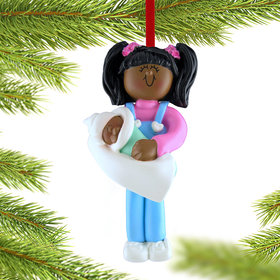 Big Sister Holding Baby Christmas Ornament